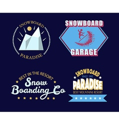 Snowboarding typography icon logotype and badge vector