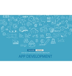 App development concept with doodle design style vector
