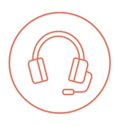 Headphone with microphone line icon vector
