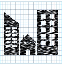 Real estate icon with pen effect on paper vector