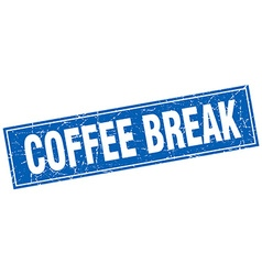 Coffee break blue square grunge stamp on white vector