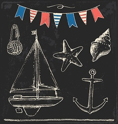 Rustic sailboat and anchor sea elements chalk set vector