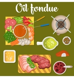 Oil fondue with meat and vegetables like carrot vector