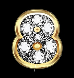 8 number gold and diamond bling vector