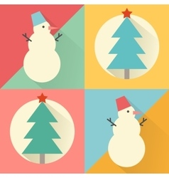 Happy new year icon set of flat design christmas vector