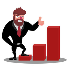 a successful boss stands on a growing schedule and vector image vector image