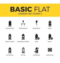 Basic set of condom icons vector