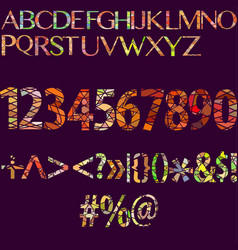 Big set of separated alphabet letters numbers vector