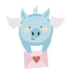 Blue pig with letter vector