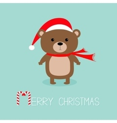 Brown bear in santa claus hat and scarf Candy vector image vector image