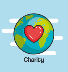 Charity and donation give and share your love to vector