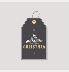 christmas gift tag typography quote design happy vector image vector image