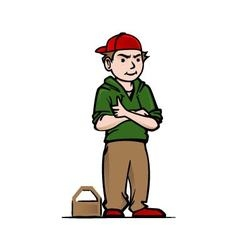 Cool boy with red hat vector