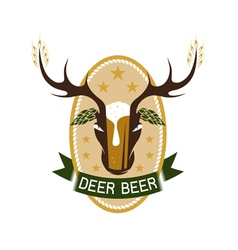 Deer beer negative space concept label vector
