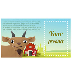 farm animal and rural landscape with goat vector image