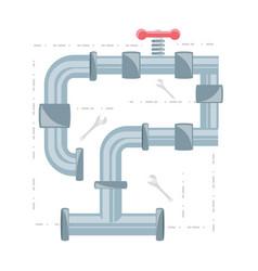Flat set icon tools plumbing vector