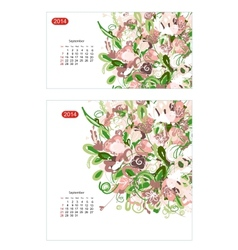 Floral calendar 2014 september Design for two size vector image vector image