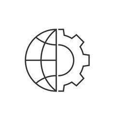 Globe and gear outline icon vector