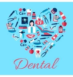 Heart symbol of dental care icons flat style vector image