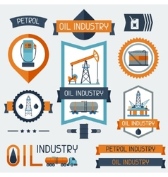 Industrial badges labels with oil and petrol icons vector image