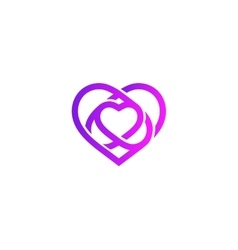 Isolated purple abstract monoline heart logo Love vector image vector image