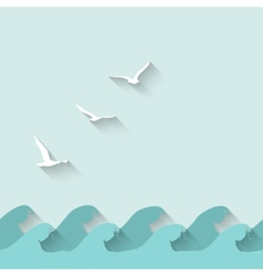 marine background with waves and birds vector image vector image