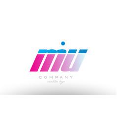 mu m u alphabet letter combination pink blue bold vector image vector image