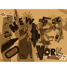 new york doodles with grunge background vector image