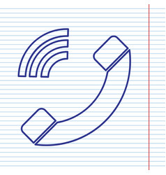 Phone sign navy line icon on vector