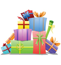 Pile of Gift Boxes vector image vector image