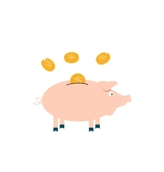 Pink pig piggy bank with falling coins - vector