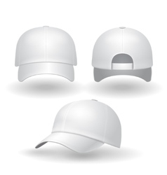 Realistic white baseball cap set vector image