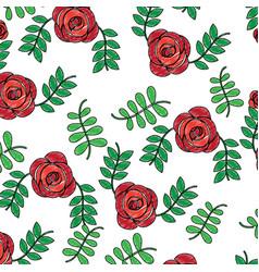 roses flower natural leaves decoration pattern vector image