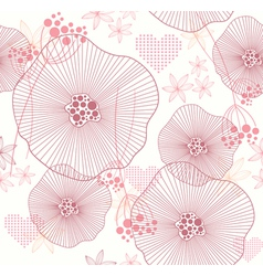seamless pattern with flowers and hearts vector image vector image