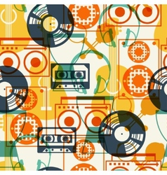 Seamless pattern with musical instruments in flat vector image vector image
