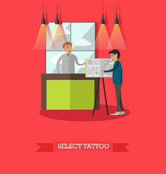 Select tattoo concept in flat vector