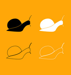 snail silhouette set black and white icon vector image vector image