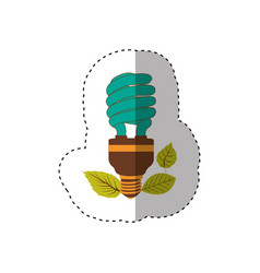 sticker of fluorescent bulb spiral in color vector image