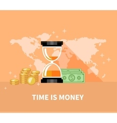 Time is money concept hourglass coins vector