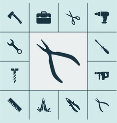 Tools icons set with multi tool electric vector