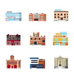 Urban Buildings Icon Set vector image