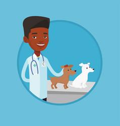 veterinarian examining dogs vector image vector image