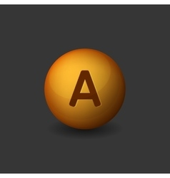 Vitamin a orange glossy sphere on dark background vector