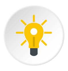Yellow glowing light bulb icon circle vector