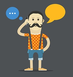 Yound hipster talking template vector