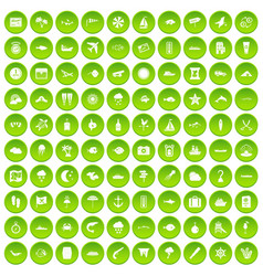 100 marine environment icons set green circle vector