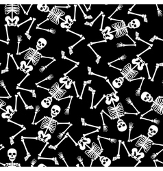 Skeleton dancing seamless pattern vector