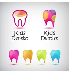 Set of colorful teeth logos kids dentist vector