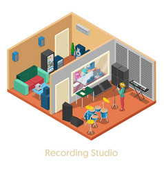 Isometric music recording studio interior vector