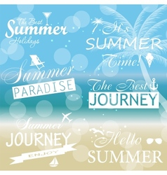 Vintage summer calligraphic elements design labels vector